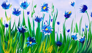 easy acrylic painting abstract cornflowers asl art sherpa