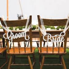 Bride And Groom Chair Signs Southern Wedding Decorations And Signs For Barn Inspired Weddings