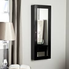 wall mounted black bathroom storage cabinet with vertical mirrored