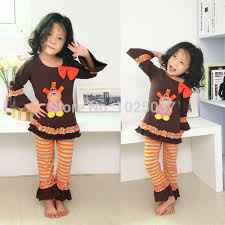 posh thanksgiving clothing set brown cotton ruffle clothes set