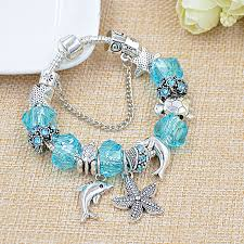 bead bracelet charm pandora images Dropshipping silver ocean starfish dolphin bead bracelet crystal jpg