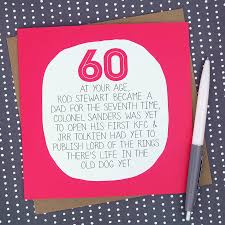 60 Birthday Cards By Your Age Funny 60th Birthday Card By Paper Plane