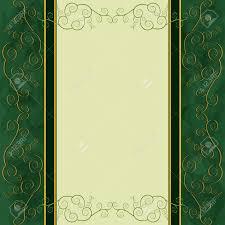 Cover Invitation Card Vintage Golden Green Background For Menu Cover Invitation