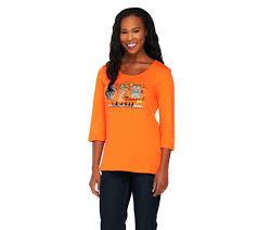 halloween 3 t shirt quacker factory halloween night 3 4 sleeve t shirt page 1 u2014 qvc com