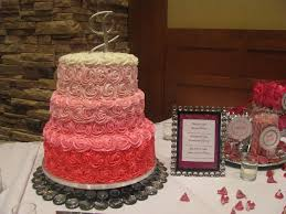 pink ombre wedding cake piped rosettes red velvet strawberry