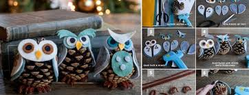 diy owl ornaments from felt and pine cone beesdiy
