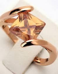 cincin lapis emas cincin wanita fashion motif batu orange lapis emas cincin