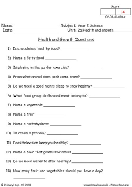 primaryleap co uk health and growth questions worksheet