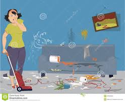 woman in a messy room cartoon stock illustration image 48915198