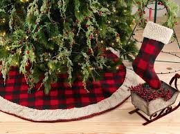 plaid tree skirt buffalo plaid with sherpa border tree skirt www