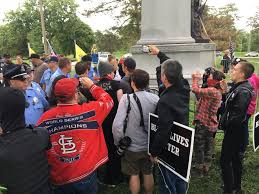 protesters clash at the confederate monument in forest park cbs