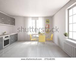 Design Of Modern Kitchen White Modern Interior Panoramic Windows Corner Stock Illustration