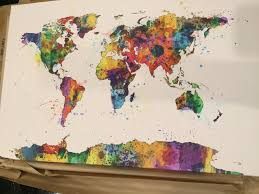 Canvas Map Of The World by New Trademark Fine Art Urban Watercolor World Map By Michael