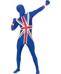 British Flag Dress British Union Jack 2nd Skin Lycra Bodysuit Fancy Dress Olympics