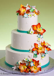Tropical Themed Wedding Cakes - sugar floral wedding cakes