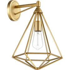 brass geometric caged wall sconce