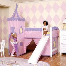purple loft bed with orange mattress and ladder plus white wooden