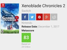 Seeking Metacritic Xenoblade Chronicles 2 Is At An 83 So Far On Metacritic