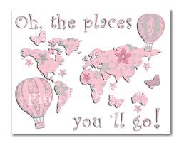 World Map Artwork by Oh The Places You U0027ll Go World Map Nursery Artwork Kids