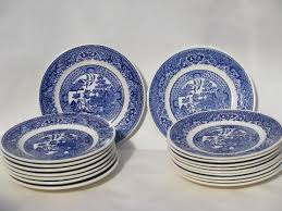 antique vintage blue willow china lot of 18 bread butter or