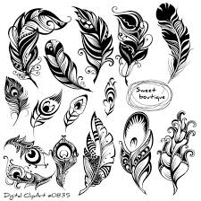 digital feathers feathers digital clipart feather silhouettes