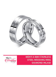 Steel Wedding Rings by Buy Stainless Steel Wedding Rings Malaysia Men U0027s 6 Mm Diamond