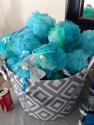 baby shower party favors ideas baby shower favor ideas boy blue shower puff on grey contemporary