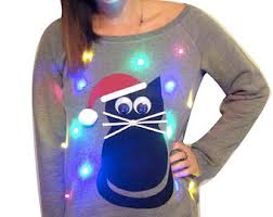 Ugly Christmas Sweater With Lights Women U0027s Ugly Christmas Sweater Cat Light Up Swoop Neck