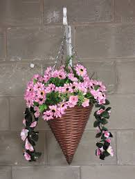 hanging flowers mixed all pink artificial flowers cone hanging basket
