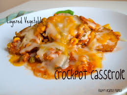 layered vegetable crockpot casserole happy healthy