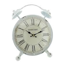 Large Silver Mantel Clock Shabby Chic White Mantel Clock Country Farmhouse Oversized Clock