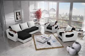 2 Armchairs Corner Sofa Bed And 2 Armchairs Set Moderno In Black U0026 White
