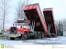 volvo dump truck volvo n12 truck with dump box trailers up editorial stock photo