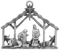 nativity pewter personalized handmade pewter ornament