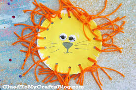 paper plate yarn lion kid craft glued to my crafts