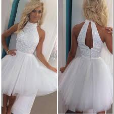 graduation dresses for college white halter beaded homecoming dresses sparkly keyhole back