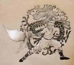 original drawing chinese dragon kung fu martial art warrior