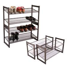 Amazon Com Langria Living Storage by Amazon Com Floureon 4 Tier Metal Mesh Utility Shoe Rack Storage