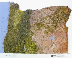 map of oregon state oregon state raised relief map ncr color relief