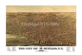Vintage Map Buffalo Ny In 1880 Bird U0027s Eye View Map Aerial Map Panorama