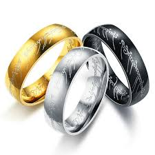 ring of men 6mm one ring of power the lord of rings silver gold black hobbit
