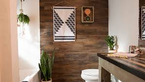 builder grade bath upgrades plank accent wall