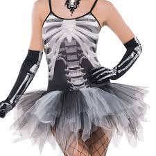 ladies skeleton print tutu fancy dress costume halloween bone