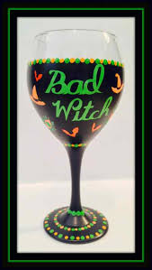 halloween glass bad witch wine glass glasses for halloween wine
