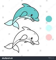 dolphin coloring book page cartoon vector stock vector 333677300
