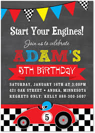 birthday invitation card race car birthday invitations