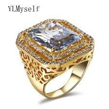 jewelry large rings images Luxury woman rings with large rectangle stone gold and white plate jpg
