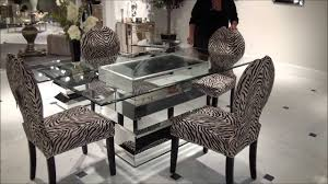 mirrors for dining room paparazzo mirrored dining table with zebra chairs by bassett