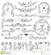 doodles floral decor set wreath borders elements stock photo