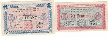 chambre de commerce 12 12 mai 1916 lot de 2 billets chambre de commerce moulins et